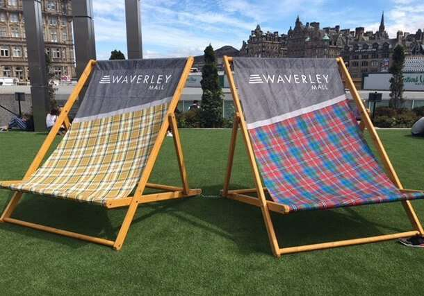 Giant branded deckchairs